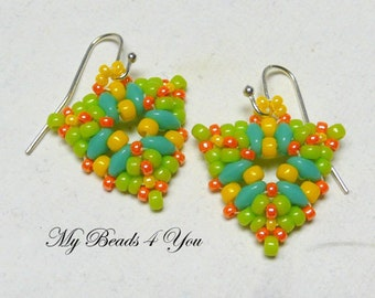 Seed Bead Earrings, Beadwoven Earrings, Beaded Earrings, Beadwork, Beadwoven Earrings, Beaded Jewelry, Beadwoven Jewelry, MyBeads4You