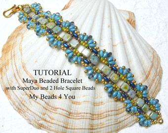 Beading Tutorial Pattern,Beading Instruction,Seed Bead Pattern,Bead Schemi,DIY Jewelry,Bracelet Tutorial,SuperDuo Bead Patterns,2 Hole Beads