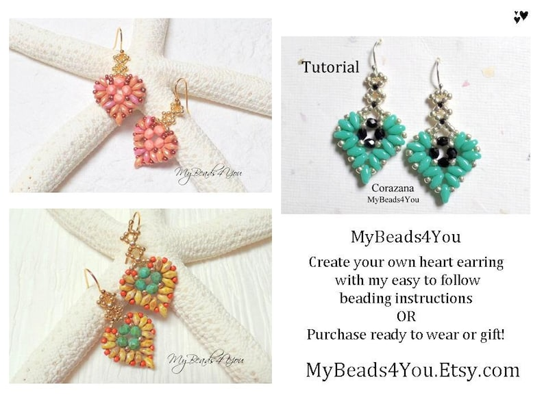 Beading Tutorials and Patterns Beaded Heart Drop Earrings image 0