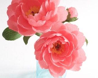 Crepe paper flowers etsy more colors 2 coral pink peony handmade crepe paper flowers mightylinksfo