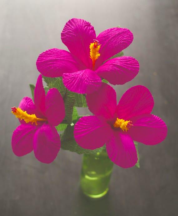 3 Hibiscus Paper Flowers Handmade Paper Flowers Gift Etsy