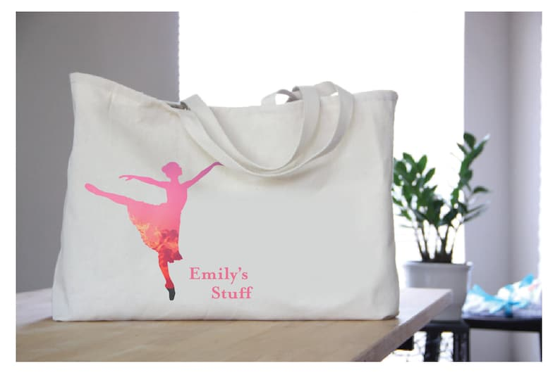 Gift Ideas   Ballet Bag   Custom Oversize Tote with Print Inlcuded   Personalized or Monogrammed Bag   Gifts for Women