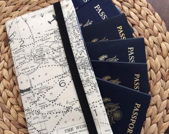 Family Passport Holder, Holds 6 Passports, APO Address, World Map International Travel, Travel Accessory, Family Cruise, Wallet