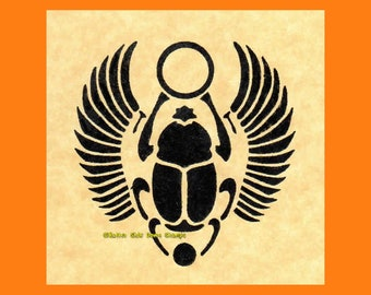 Egyptian Scarab Amulet Rubber Stamp Large Size or Mini-Size