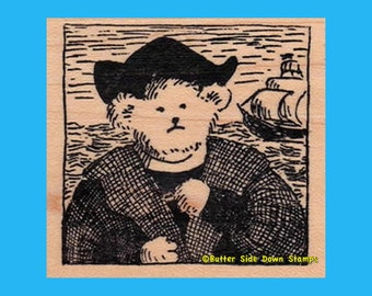 Christopher Columbear Teddy Bear Rubber Stamp