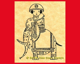 Kawaii Elephant Girl Rubber Stamp