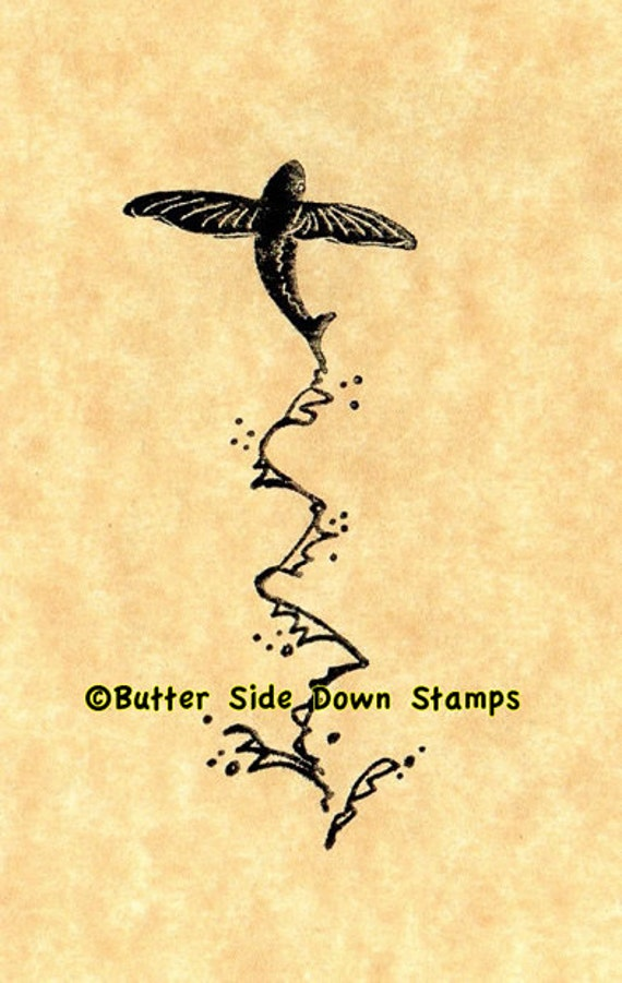 Flying Fish Rubber Stamp Etsy