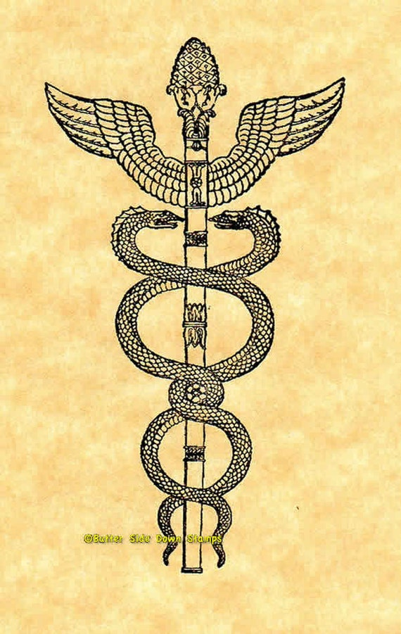 Caduceus Snake Staff Rubber Stamp Medical Symbol Etsy