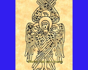 Tetramorph Angel Rubber Stamp