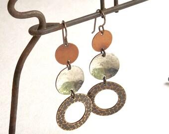 Mixed Metal earrings, Long Boho Earrings, Silver Hammered earrings, Casual dangle earrings, Light weight earrings, Jewelry, Go-to Gift