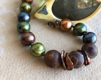 Fall Fashion Asymmetrical Bracelet, Statement bracelet, Freshwater pearl jewelry, Colored Pearl Bracelet, Gift for her, Statement Jewelry.