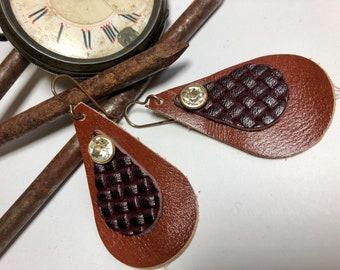 Genuine Leather earrings, Embellished leather rhinestone earrings, Lightweight earrings, Teardrop Dangle earrings , Brown Leather, Jewelry