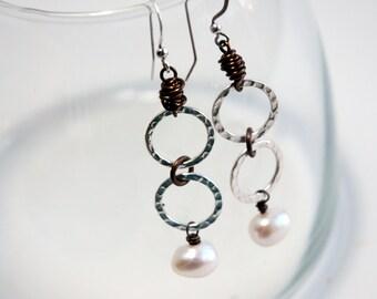 Mixed Metal Earrings, Pearl Earrings, Silver hoop, Long earrings, Dangle earrings, Natural Brass, Jewelry, June Birthstone