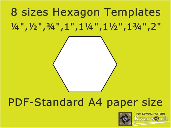 8 sizes Hexagon Templates Standard A4 Instant downloaded | Etsy