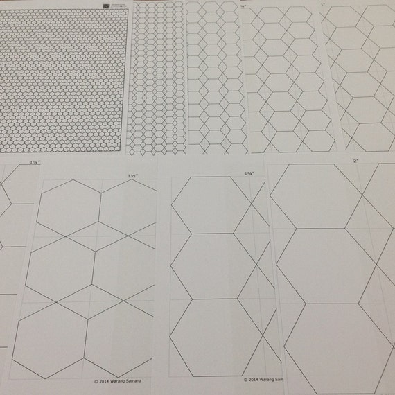 8 sizes Hexagon Templates Standard A4 Instant downloaded   Etsy