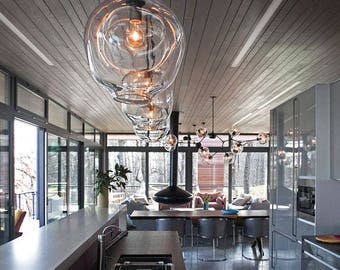 kitchen lighting chandelier. Pendant Lights, Kitchen Lighting, Glass Light, Blown Dining Room Chandelier, Living Interior Lighting Chandelier
