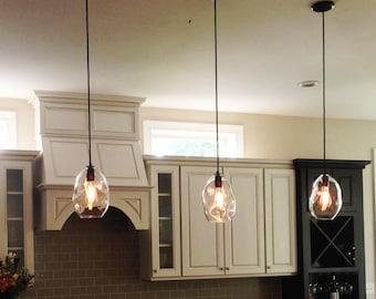 """Glass Pendant Light Dented 5"""" LED 120v 40W, Crinkle or Dented Light, Clear Blown Glass Pendant Lighting, Interior Design Lighting"""
