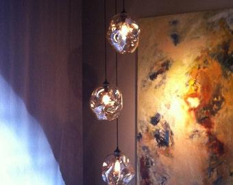 "Glass chandelier 3 light with 5"" glass, Blown glass lighting chandelier, Hanging light inerior design lighting and pendants, chandeliers"