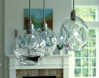 """Blown glass lighting 6"""" lightly crinkled design - Hanging Pendant Light, Blown Glass Lighting, Chandelier, canopy interior design lighting"""
