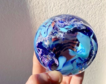 3 color ashes in glass paperweight orb - this item comes with 3 colors / ashes in glass keepsake memorial glass cremation art
