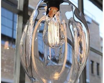 """9"""" Pendant Lights Blown Glass / 120v 40w Bulb, Pendant Light Installation, Hanging Pendant Lights, Glass Globes, Interior Design Light"""