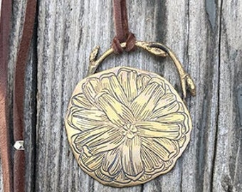 Nature pendant, Pine cone pendant, nature necklace, nature pendant, leather and metal pendant, pine cone jewelry, pine cone flower,pine cone