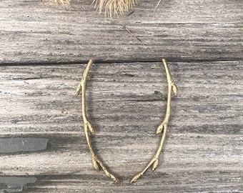Twig Post Earrings,  Bronze Branch Earrings, Twig Branch Earrings, Nature Cast Earrings, Nature Earrings,Twig earrings,twig jewelry,branches