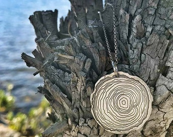 Wood slice necklace, John Muir quote, 2 sided necklace, And into the forest I go, Nature therapy, nature therapy jewelry