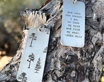 2 sided pendant,  John Muir quote, Nature patterns, Meister Eckhart, Van Gogh, Emerson, Nature inspired, Botanical prints, Botanical jewelry