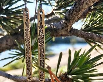 Bronze Fir Branch Earrings,Gold Dangle Earrings,Nature Inspired,Nature Earrings, Fir Branch Jewelry, Dangle Earrings, Nature Dangle earrings