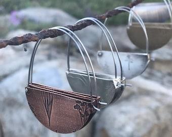 wood grain, floral, topo map print, rivet and fold hoops, half moon hoops, dimensional earrings, scarf proof hoops, scarf proof