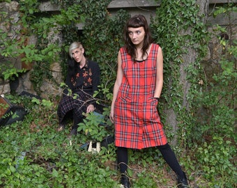 Red Plaid VNTG Dress - 70s Yugoslavia Plaid Dress