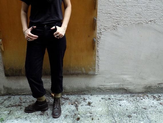 Black VNTG Denim Pants LBlack 90s Mum/'s Jeans L LEE