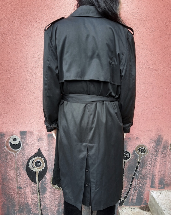 Vintage Black Trench Coat//Men's Trench Coat//80'… - image 7