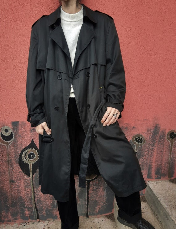 Vintage Black Trench Coat//Men's Trench Coat//80'… - image 9