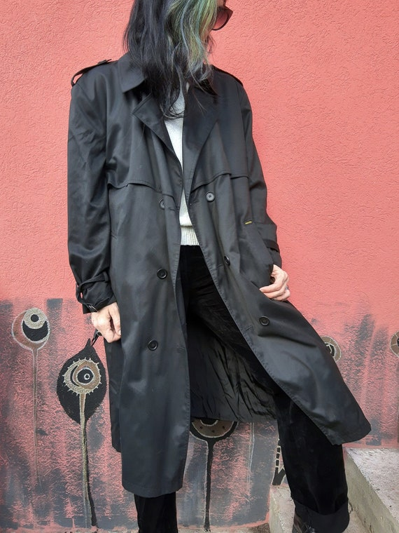 Vintage Black Trench Coat//Men's Trench Coat//80'… - image 1