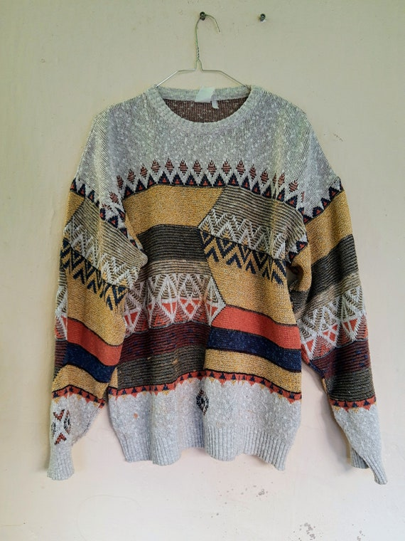 Vintage Abstract Sweater//80's Fadhion Sweater