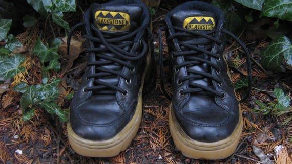 Black Stone - Platform Black Leather Sneakers/ Bla