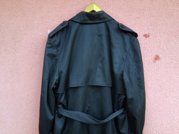 Vintage Black Trench Coat//Men's Trench Coat//80'… - image 6