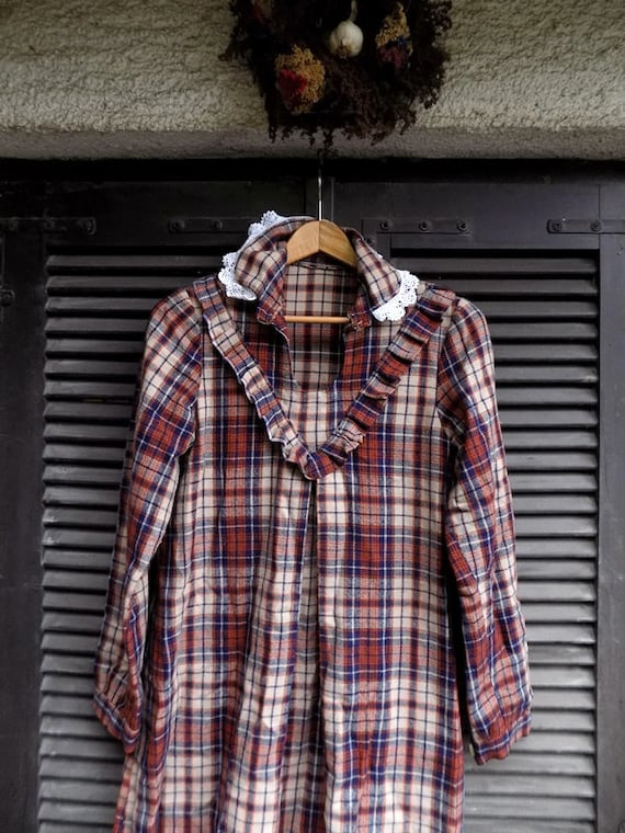 Plaid Maxi Dress - VNTG 70s Plaid Grunge Dress