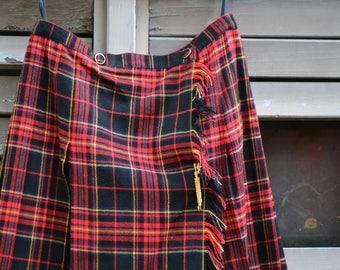 Red Tartan Skirt - VNTG 80s Tartan Mini Skirt