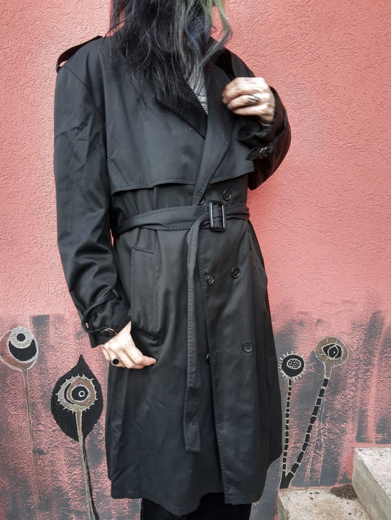 Vintage Black Trench Coat//Men's Trench Coat//80'… - image 5