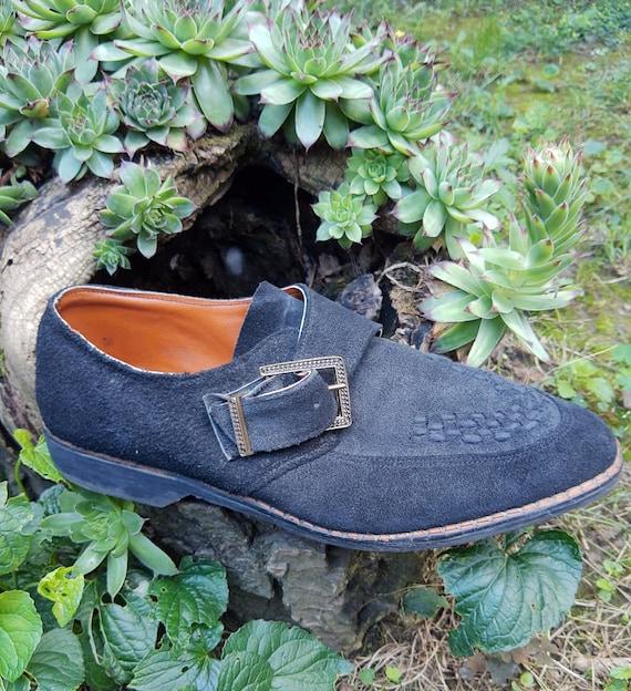 Vintage Men's Oxford Shoes//Handmade Black Leather