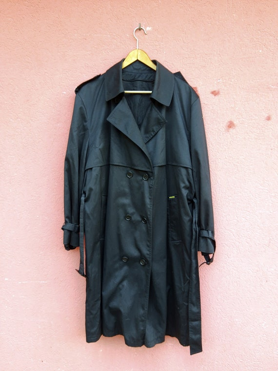 Vintage Black Trench Coat//Men's Trench Coat//80'… - image 8