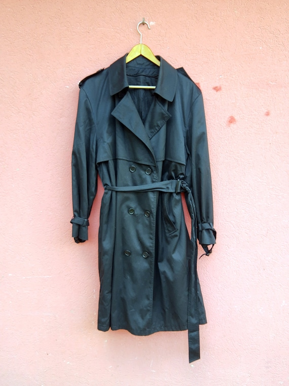 Vintage Black Trench Coat//Men's Trench Coat//80'… - image 3