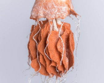 Wool hanging jellyfish, wet felted jellyfish, gift for divers and marine biologists, red and white ocean home decor