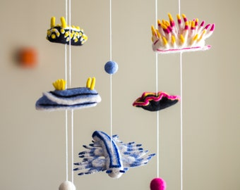 Needle felted baby mobile, Nursery decor, Baby shower gift, Ocean creatures, Nudibranch and sea slug, Gift for divers and marine biologists