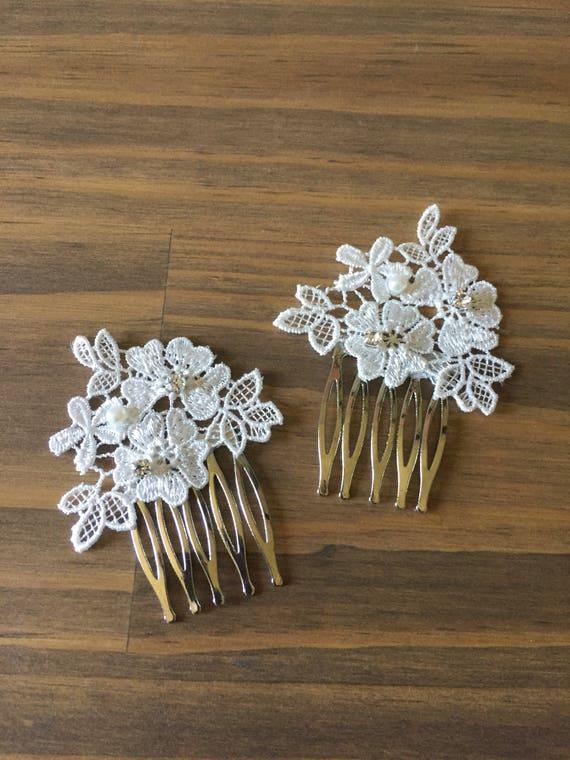 f0077ca494392 Vintage Wedding Hair Comb Set Hair Hair Accessories Wedding Accessories  Wedding Decorative Combs Lace Comb Set Wedding Hairpiece Combs