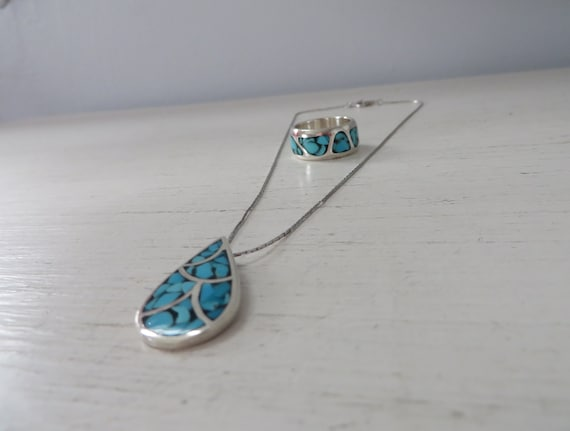 Vintage Navajo Turquoise Matched Pendant and Ring Set Crushed Turquoise Inlay Southwestern Trifari Necklace Sterling Ring and Pendant