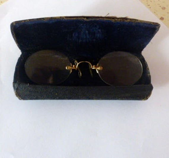 291f2fc2b91 French Antique Spectacles Double 12 ct Spring Pince Glasses